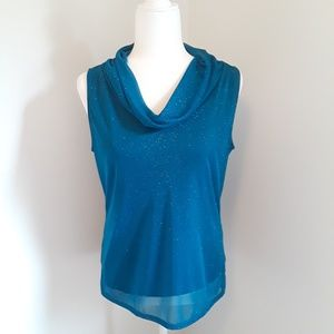 Dress barn cowl neck sparkly top petite large